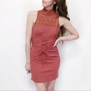 Free People NWT Terracotta Lace-Yoke Bodycon Dress